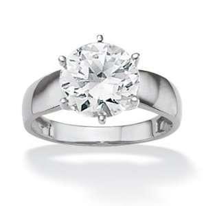 PalmBeach Jewelry 10k White Gold Round DiamonUltra™ Cubic Zirconia