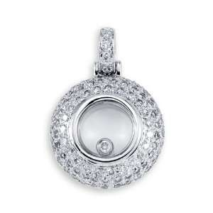 14k White Gold Round Diamond Frame Dome Charm Pendant