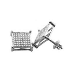 (1/3 Ctw) 10k White Gold Diamond Earring Studs