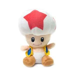 Mario Bro Super Star Toad 8 inch Plush   Red Toys