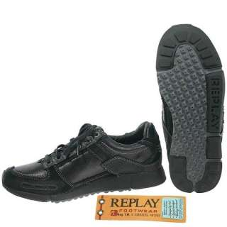 Replay Lewis Pat Black Leather Casual Shoes for Men