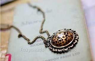 New Fashion Womens Round Bronze Copper Leopard Pendant Sweater