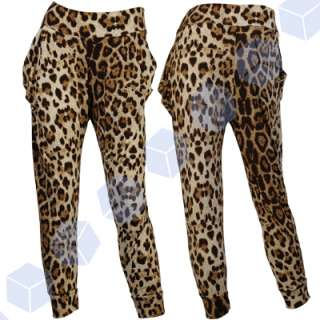 Slouchy Harem Pants animal Leopard Print Trousers Baggy tapered