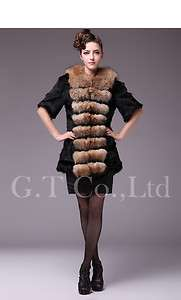 0462 women rabbit fur coat coats garment overcoat outwear clothes