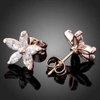 ARINNA Swarovski crystal violet rose GP Earrings Studs