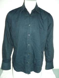 HUGO BOSS Teal Blue Check Cotton Shirt LARGE slim fit