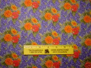 Hot Pink & Orange Zinnias on Blue Cotton Fabric By Yard