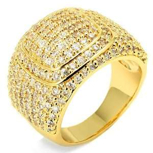 Yellow Gold Plated Championship Style Hip Hop Mens Ring