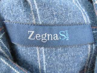 ZEGNA SPORT Blue Plaid Collared Button Shirt Top Size M
