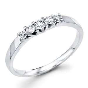 14K White Gold Five 5 Stone Round Diamond Wedding Anniversary Ring