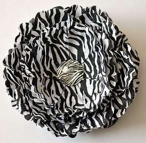 Black & White Zebra Animal Print Peony Silk Flower Hair Clip
