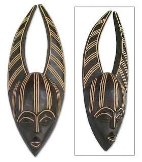 ZEBRA MAN ~ Hand carved Wood MASK ~ African ~ Folk ART