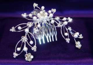 Bridal Faux Pearl Crystal Rhinestone Hair Comb T1037