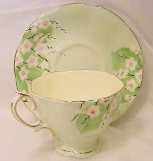 Royal Albert Crown China Green Blossom Cup and Saucer