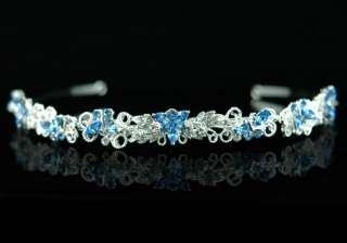 Butterfly Blue Crystal Bridal Prom Headband Tiara T1303