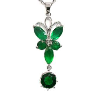 FASHION LADY JEWELRY MARQUISE CUT EMERALD WHITE GOLD GP PENDANT