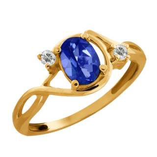 03 Ct Oval Sapphire Blue Mystic Topaz and Topaz Gold Plated Silver
