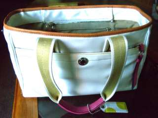 Coach Hand Hobo Big Large Pink White Tote Carryall Diaper Laptop Bag