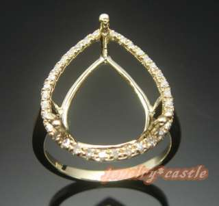 13x7MM PEAR SHAPED PAVE DIAMOND 14K Y/GOLD ENGAGEMENT SEMI MOUNT RING