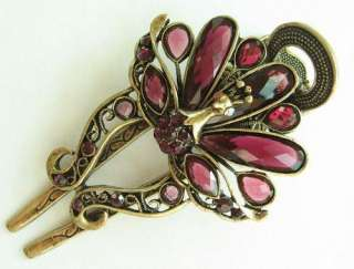 COLORS SWAROVSKI CRYSTAL BIG PEACOCK HAIR BARRETTE CLIP 1464