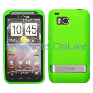 Green Silicone Skin Cover Case+Screen Guard Film+Car Charger for HTC
