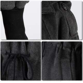 New Women Wool blend Hoodie coat Zipper Jacket Gray M L