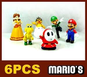 6PCS /set Super Mario Bro Action Figure Toys Yoshi,Luigi,Daisy,