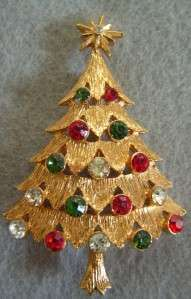 Vintage Mint MYLU Christmas Tree Brooch Pin Rhinestones