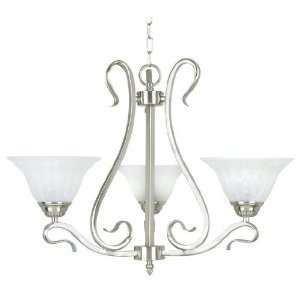 Yosemite Home Decor 8733 3SN Dogwood 3 Light Chandelier, White Fluted