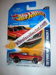 70 Ford Mustang Mach 1 RED * 2012 Hot Wheels * K Case Mania Ford 8/10