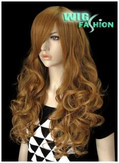 New Long Yellowish Blonde Curly Hair Wig MS98