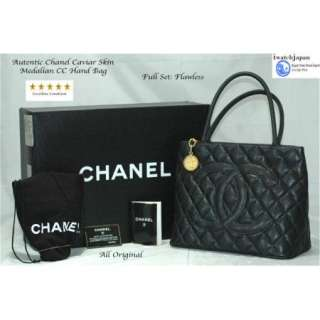 AUTHENTIC CHANEL MEDALLION, BLACK QUILTED CAVIAR LEATHER TOTE BAG