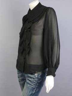 Black Chiffon Ruffled Long Sleeve Shirt Blouse Top M