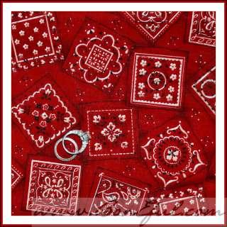 BOOAK Fabric Dark Red Tan Country Cowgirl Bandana Cowboy OOP Cotton
