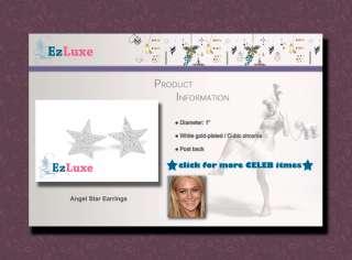 Lindsay Lohan Large Cubic Crystal Angel Star Earrings CRUISE