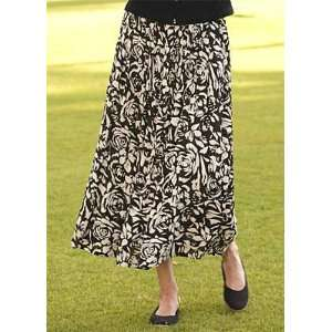 Black and Tan Floral Skirt A wood block print of stylized
