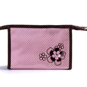LY Fashion Lady Makeup Cosmetic Hand Case Zipper Pouch Bag Pink Flower