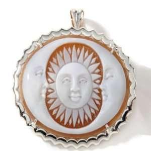Italy Cameo Sterling Silver Sardonyx Sun & Moon Pin/Pendant