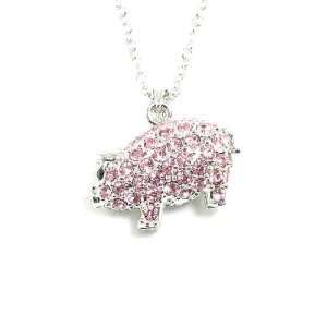 Adorably Cute 3d Pink Crystal Covered Pig Charm Necklace