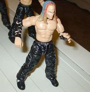 1999 JAKKS WWE TITAN TRON JEFF HARDY RED BLUE GREEN HAIR BLACK ARM