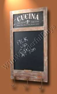 FRENCH COUNTRY Cucina CHALKBOARD w/ Hooks Wall Decor Tuscan NEW