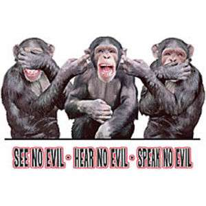 SEE/HEAR/SPEAK NO EVIL MONKEYS FUNNY T SHIRT SHIRT