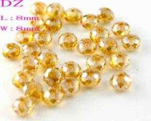 L2808 30pc 8mm Faceted Crystal Gem Rondelle Loose Beads