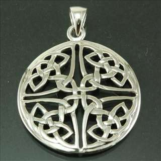 Large Sterling Silver Celtic Knot Pendant Irish Jewelry 1.16in / 29mm