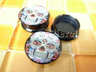 Sugar Skull Flesh Tunnels Ear Plugs Pick Size/Style #5