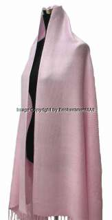 NWT Elegant Jacquard 2Ply Pashmina Shawl Wrap Baby Pink