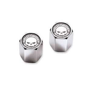 Harley Davidson Willie G Skull Chrome Valve Stem Caps