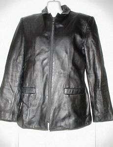 Womens Jones New York Black Leather Jacket Small