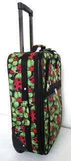 3Piece Luggage Set Travel Bag Rolling Wheel Red Ladybug