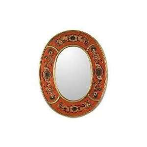Painted glass mirror, Colonial Medallions (red)